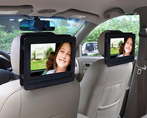 Auto Kopfstützenhalterung für (PU Leder) für AEG DVD 4552 LCD Tragbarer DVD-Player (22,86 cm (9 Zoll) Display / Odys Seal X820011 tragbarer DVD-Player