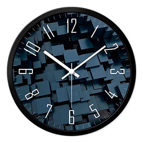 CWJ Uhr-Wanduhr Metall einfache Persönlichkeit ruhig 12 Zoll / 14 Zoll personalisierte Mode Wohnzimmer Schlafzimmer kreative Moderne minimalistische stumme Uhr Wanddekoration Kunstwerk,14inches,Schwa -