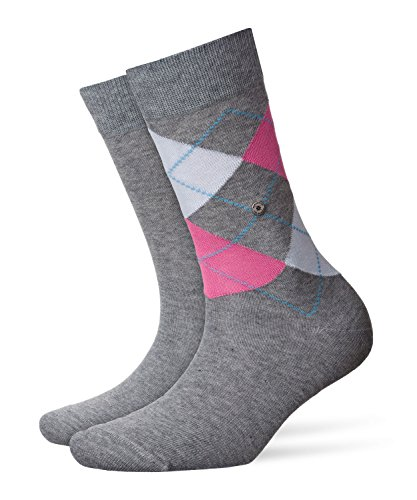 Burlington Damen Socken Damensocken Baumwolle Everyday Argyle-Uni Mix, Blickdicht, 2er Pack, Mehrfarbig (Light Grey 3401), 36/41 (One Size)