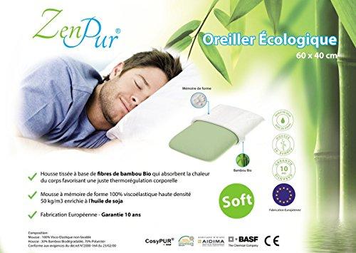 ZenPur - Oreiller Premium Orthopédique & Ergonomique (40x60cm),...