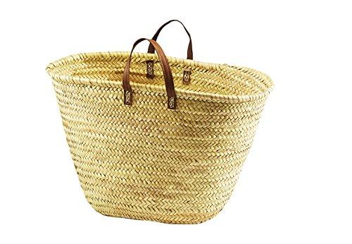 Palmtasche Korbtasche Einkaufstasche Flechttasche Strandtasche Ibiza Tasche aus Palmblatt mit Echt Ledergriffen