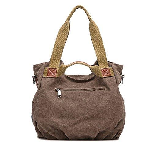 AISI da donna da donna casual tela quotidiano borsa borsa a tracolla borsetta, Black (Nero) - kb-10 Brown