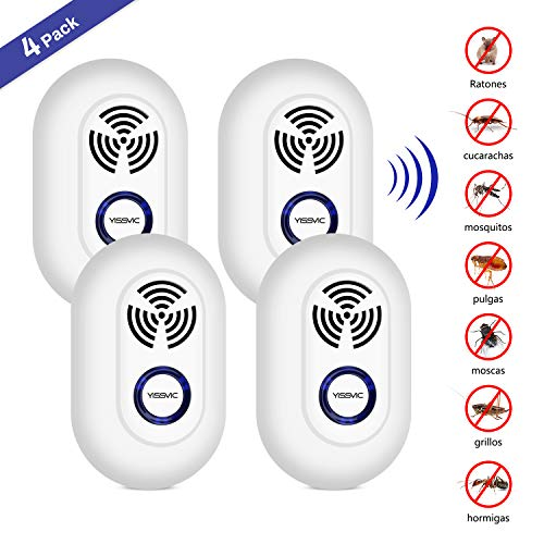 YISSVIC Repelente Ultrasónico Repelente Electrónico Enchufable 4PCS Control de Plagas para Insectos, Cucarachas, Roedores, Moscas, Mosquitos Tropical, Hormigas, Arañas, Ratones, Seguro para Niños y Embarazadas