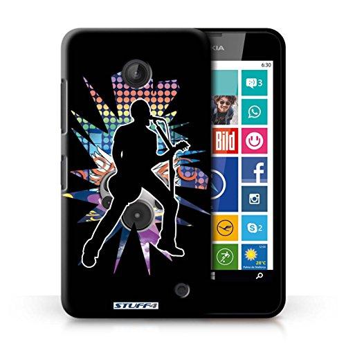Kobalt® Imprimé Etui / Coque pour Nokia Lumia 635 / Saut Blanc conception / Série Rock Star Pose Chanteur Noir