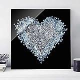Glasbild - Diamant Herz - Quadrat 1:1, Wandbild, Glas Bild, Druck auf Glas, Glasdruck, Größe HxB: 50cm x 50cm
