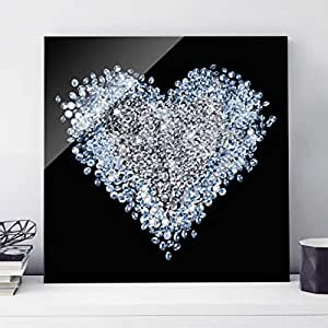 print on glass wall art diamond heart square 1 1 print on glass glass print glass picture. Black Bedroom Furniture Sets. Home Design Ideas