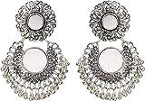 #5: Jewels Kafe German Silver Afgani Tribal Mirror Dangle Earrings for Girls & Women