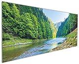 Wallario Küchen-Rückwand | Glas mit Motiv Fluss in den Bergen an steinigem Ufer in Premium-Qualität: Brillante Farben, ohne Aufhängung | geeignet zum Verkleben |Spritzschutz Küche Herd Spüle | abwischbar | pflegeleicht