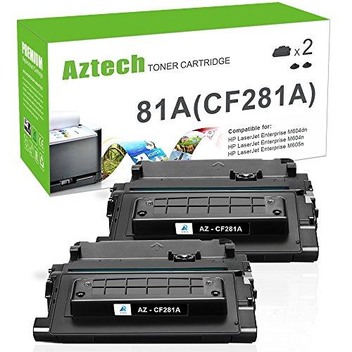 Aztech 2 Pack Kompatibel für HP 81A CF281A (CF281X 81X) Schwarz Toner für HP Laserjet Enterprise M630 M630h M630dn M630f M630z,M604 M604dn M604n,M605 M605dn M605n M605x,M606 M606dn Drucker -