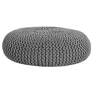 homescapes strickpouf gro grau rund 70 x 23 cm. Black Bedroom Furniture Sets. Home Design Ideas