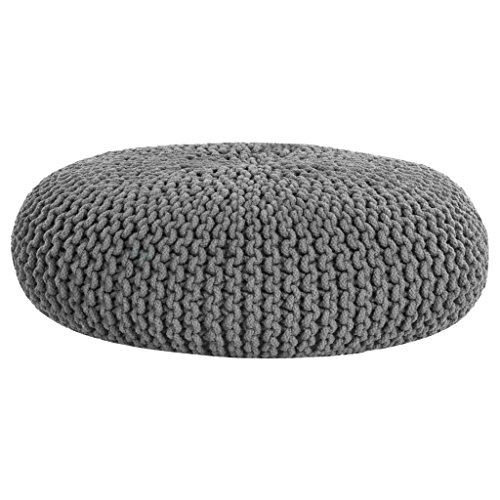 Homescapes Pouf large et allongé Gris en 100% Coton tricoté main de 70 x 23 cm