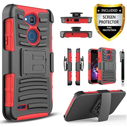 Circlemalls Combo LG X Power 3 Hülle mit Premium Displayschutzfolie, integrierter Ständer und Touch-Screen-Stift, rot (Premium-touch-screen)