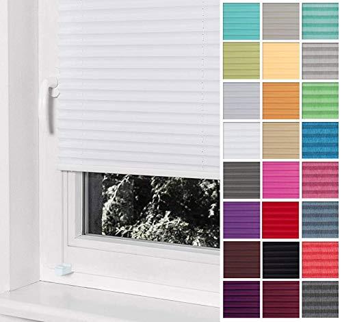 Home-Vision Premium Plissee Faltrollo ohne Bohren mit Klemmträger / -fix (Weiß, B80cm x H200cm) Blickdicht Sonnenschutz Jalousie für Fenster & Tür