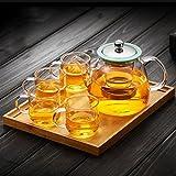 Verdickung Glas Haushalt Gekochte Tee Wasserkocher Dampfenden Wasserkocher Glas Teekanne 840 ml (teekanne + 4 Tassen + Bambusplatte) GAODUZI