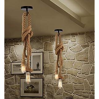 Hemp Rope Ceiling Light 2m 2 Pendant (110cm + 90cm) Industrial Retro Style E27 (Edison Bulb NOT Included) by Home Decor Studio