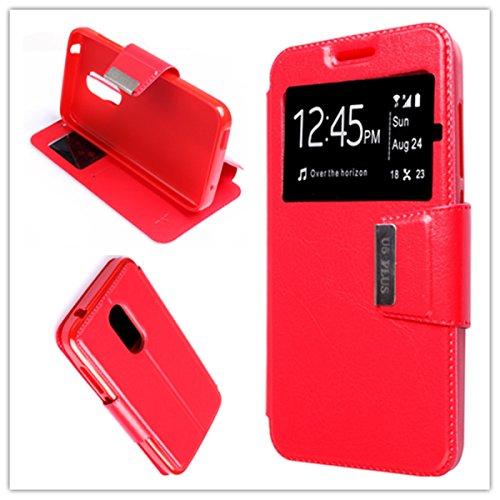 Misemiya  ® Hülle Alcatel U5 Plus/Alcatel U5 3G - Hülle + Displayschutz Hartglas Buch View Sporte Rot