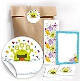 12 Geschenktüten / Natur + 12 Aufkleber + 12 Lesezeichen + 12 Mini-Notizblöcke
