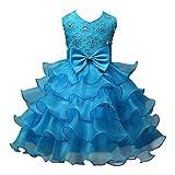 Mädchen Kleid Tüll Schichten Hochzeit Festzug Blumenmädchen Kleider für Hochzeit Party Geburtstag Blau 2 70