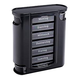 Schramm® Tablettenbox schwarz mit schwarzen Schiebern 7 Tage Pillen Tabletten Box Schachtel Tablettendose Pillendose Pillenbox Tablettenboxen Pillendosen Pillen Dose Wochendosierer