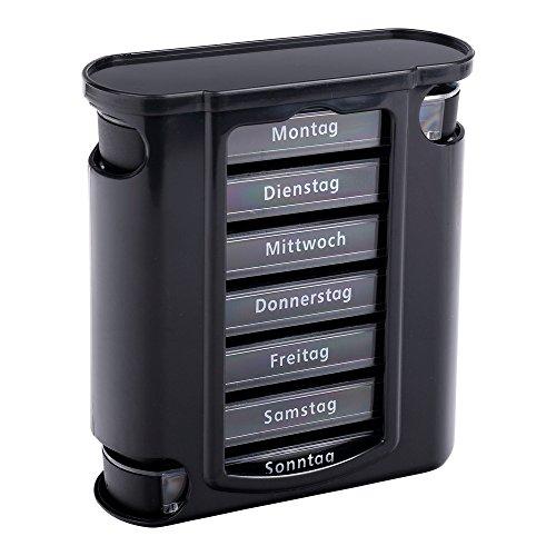 Pastillero S/O® negro con compartimentos para 7 días, depositorio para pastillas