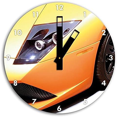 Giallo auto sportive più fresco, 30 centimetri di diametro orologio con il nero quadrato le mani e il viso, oggetti decorativi, Designuhr, composito di alluminio molto bello per soggiorno,