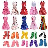 10 Kleider 10 Paar Schuhe und Stiefel gemischt für Barbies Dolls Ken Puppen (20 Stück)