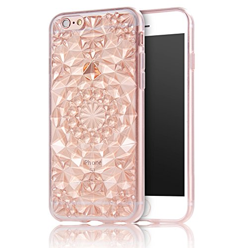 Cover iPhone 6 , Bonice iPhone 6S(4.7 pollice) Custodia, Lusso 3D Diamante Crystal TPU Ultra Clear Slim Bling Strass Case -rosa