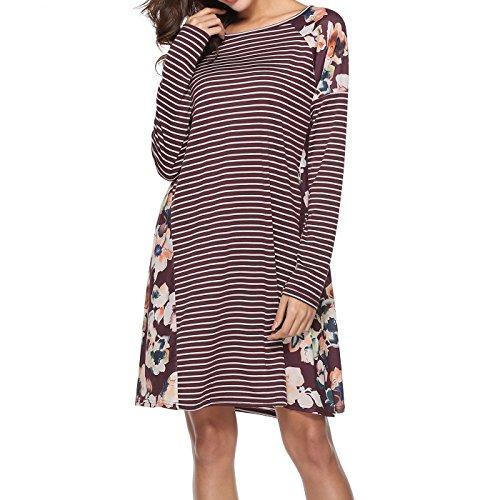 Damen Rundhal Lose Pullover Kleid Blumendruck Gestreift Langarm über Dem Knie T-Shirt Kleid, Burgund, Gr. M (Pullover Knie Länge)