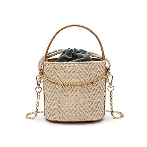 Bolsa de playa (ratán de hombro bolsa de almacenamiento verano Design en hierba de imitación retro bolsa de playa viaje vacaciones ideal regalo para mujer niña