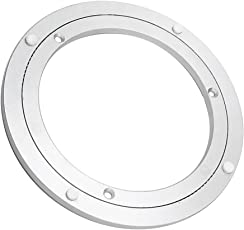 MagiDeal Bearing Swivel Plate Silver White Dining Table Base Rotating Aluminium Turntables - 16 inch, silver white