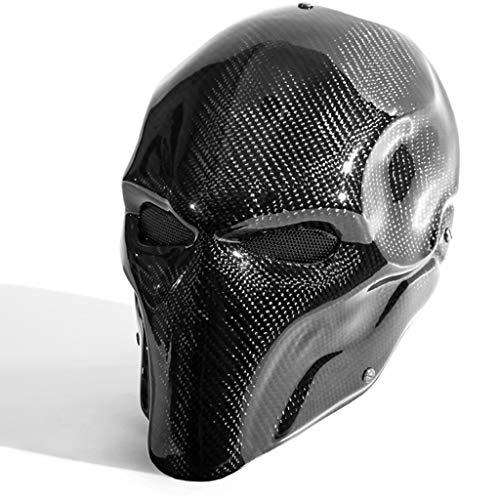 Terminator Kostüm Halloween - QWEASZER Schwarz Terminator Deathstroke Maske Halloween Ritter Maske Cosplay Erwachsene Männer Carbon Gesicht Helm Kostüm Film Karneval Kostüm Zubehör,Black-32X19CM