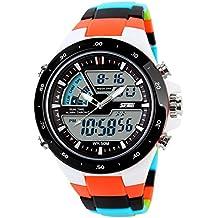 Panegy Moda Reloj Cuarzo Deportivo Digital Impermeable 5ATM Multifunción Alarma Cronómetro Calendario Watch para Hombres Chicos