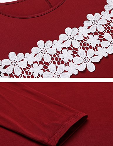 Trudge Damen Langärmliges Kleid Lose T-Shirt Brust Weben Von Blumen Unregelmäßiger Saum Freizeit Mode Bequem Weinrot