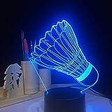 Night Light Badminton 3D Night Light Usb 7 Colori Che Cambiano Lampada Da Tavolo A Led Camera Da Letto Per Bambini Illuminazione Per Il Sonno Regali Di Festa Di Compleanno Home Decor