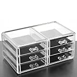 #10: Kurtzy Crystal Clear Transparent Acrylic Cosmetic Jewellery Nail Art Organiser With 6 Drawers 13.5X10.5X23.5 Cm