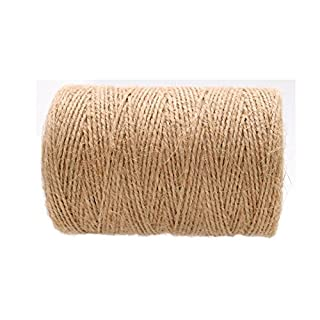 Jute Twine String,656 Feet 2 Ply Durable Packing Hemp Rope Crafts Twine(1 mm)