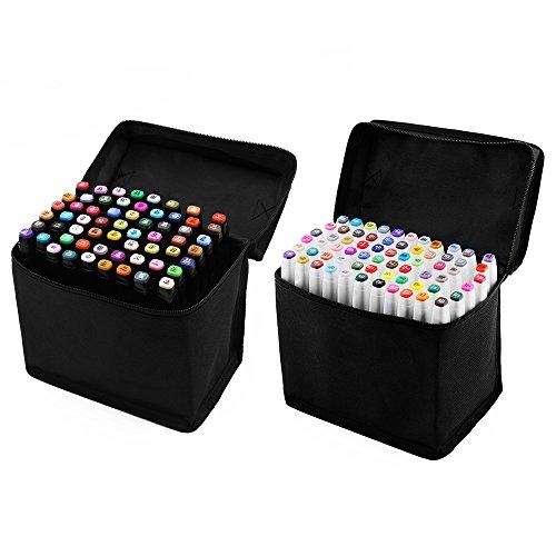 Preisvergleich Produktbild XCSOURCE 60stk Farbe Marker Pen Set Alkohol Zwilling Spitze Breit Feinpunkt für Kunst Zeichnung Grafik Weiß Körper TH260