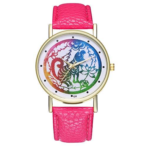 COOKDATE Armbanduhr Unisex Armbanduhr Herren Quartz Analog Sale Billige Uhren Herren Uhren Lederband Damen Uhren Pink - Für Büro Damen-uhr