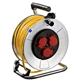 AS Schwabe 10343 - Carrete alargador de cable (metal, 25 m, diámetro de 285 mm, IP44 en exteriores), color amarillo
