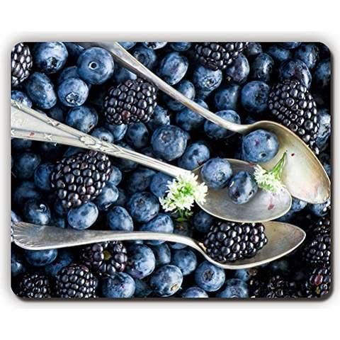 high quality mouse pad,blueberries blackberries spoon berries,Game Office MousePad size:260x210x3mm(10.2x 8.2inch) Berry Spoon