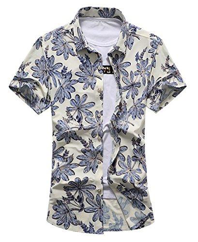 YuanDian Herren Blumenhemd Buntes Kurzarm-Shirt Revers Freizeit Wilder loser Kurzarmhemd 2XL (Reverse-hawaii-shirt)