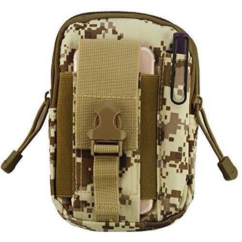 Heavy Duty Leinwand Sports Activity Waist Pack Pocket Belt für Sharp Aquos Xx, Z3, Crystal 2, kristall, MS1(Desert Camo) + MND Mini Stylus (Sharp Handy Aquos Crystal)