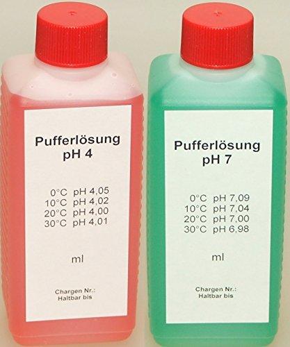 Lasama Pufferlösung/Eichlösung Set je 250 ml pH4 + pH7 Kalibrierlösung -