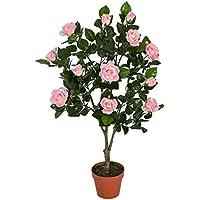 Homescapes Rosier artificiel rose fleuri en pot 90 cm