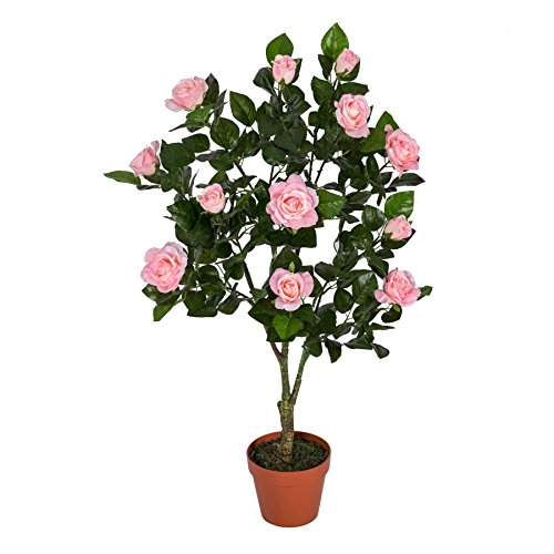 Homescapes Kunstbaum Kunstpflanze Rosen Rosenbaum formgeschnittene Kugel 90 cm Hoch