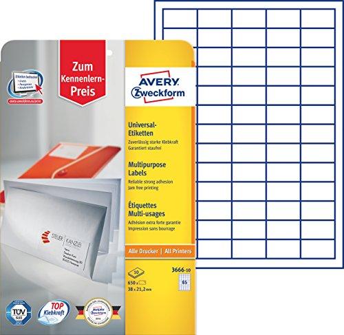 Avery Zweckform 3666-10 Universal-Etiketten (A4, Papier matt, 650 Etiketten, 38 x 21,2 mm) 10 Blatt weiß
