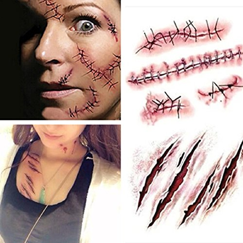 Pynxn - Halloween Zombie Narben Tattoos mit gefälschtem Schorf blutigen Make-up Halloween Dekoration Wound Scary Blut Injury Sticker [3pc]