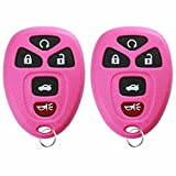 Keylessoption Keyless Entry Remote Control Car Key Fob Replacement 15912860 -Pink (Pack Of 2)