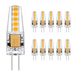 Ascher 10er Pack G4 2W LED Lampen, 10X 2835SMD, 220LM, Ersatz für 20W Halogenlampen,12V AC / DC, Warmweiß,360° Abstrahlwinkel, LED Birnen, LED Leuchtmittel