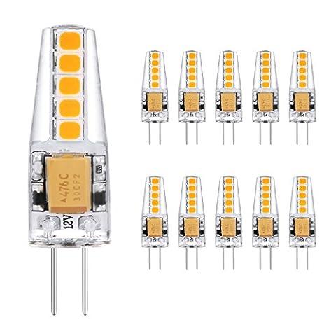 Ascher 10er Pack G4 2W LED Lampen, 10X 2835SMD, 220LM, Ersatz für 20W Halogenlampen,12V AC / DC, Warmweiß,360° Abstrahlwinkel, LED Birnen, LED